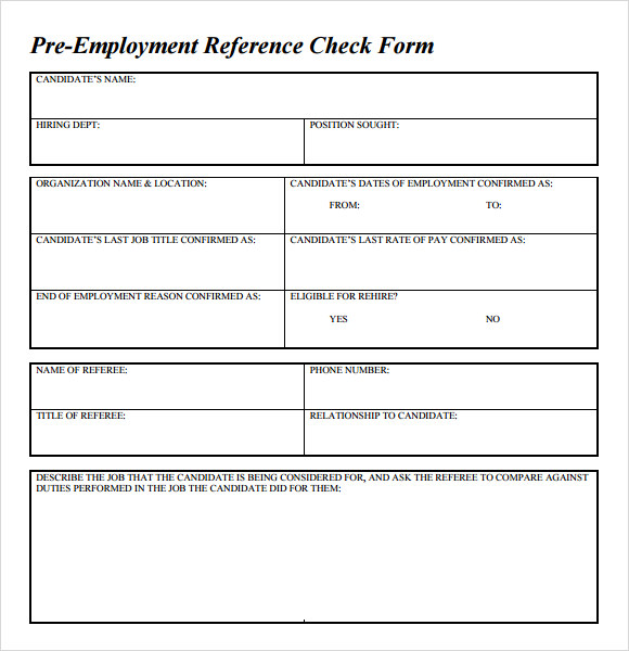 employment reference check form template sample reference check template 14 free documents in