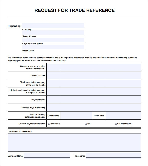Sample Trade Reference   Documents In Pdf