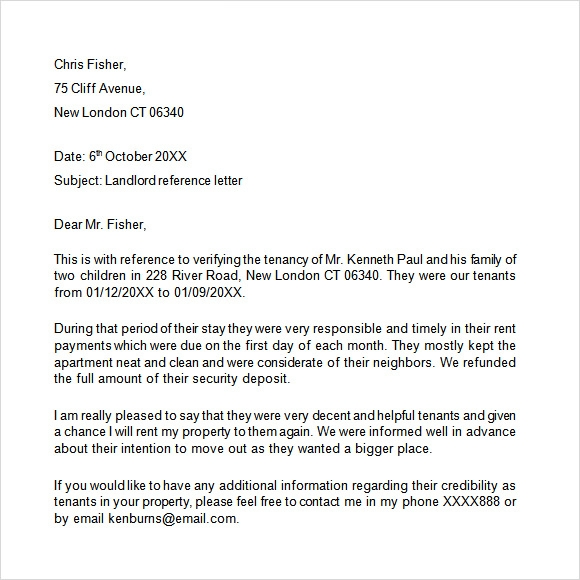 9 landlord reference letter templates to download for free for Reference letter from landlord template