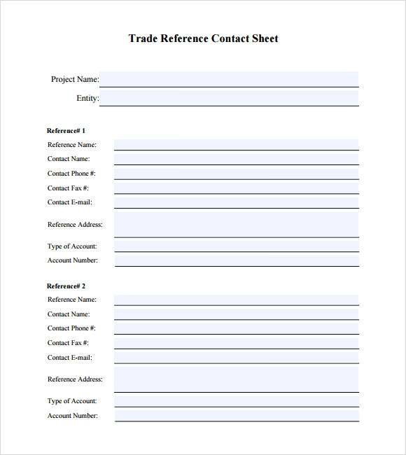 Sample Trade Reference 5 Documents in PDF – Sample Contact Sheet