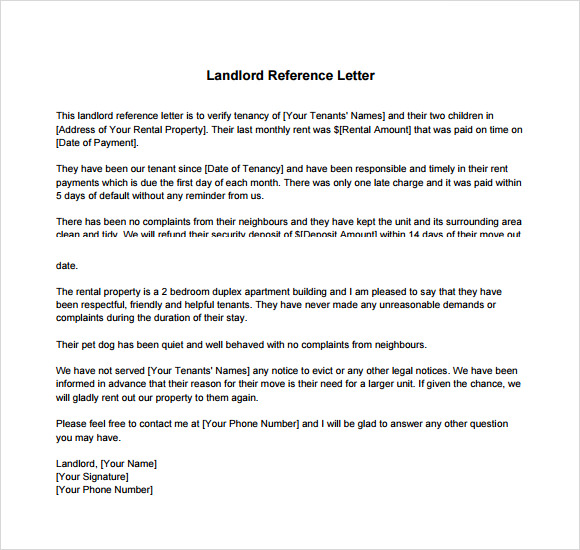 Landlord Reference Letter Template   Download Free Documents In