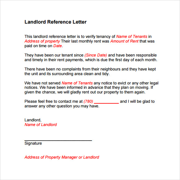 landlord reference letter download