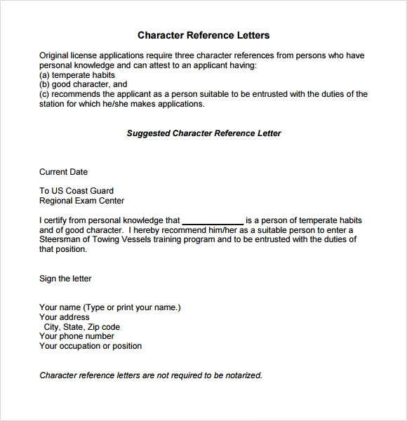 Sample Character Reference Letter Template   Documents In Pdf