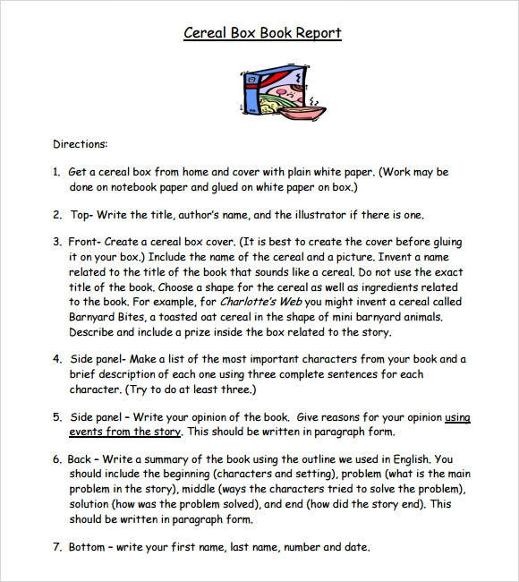 Exceptional Cereal Box Book Report Example