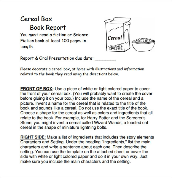 Sample Cereal Box Book Report 8 Documents In PDF WORD