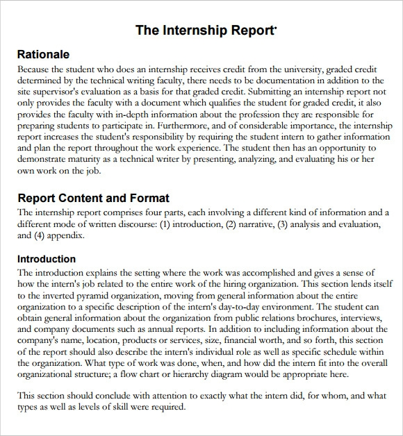 6 Sample Internship Report Free Sample Example Format Download – Internship Report Sample