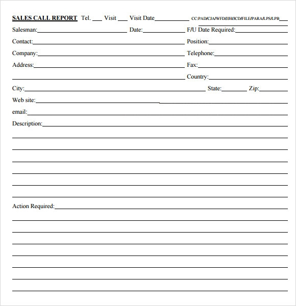 Sales Call Report Form