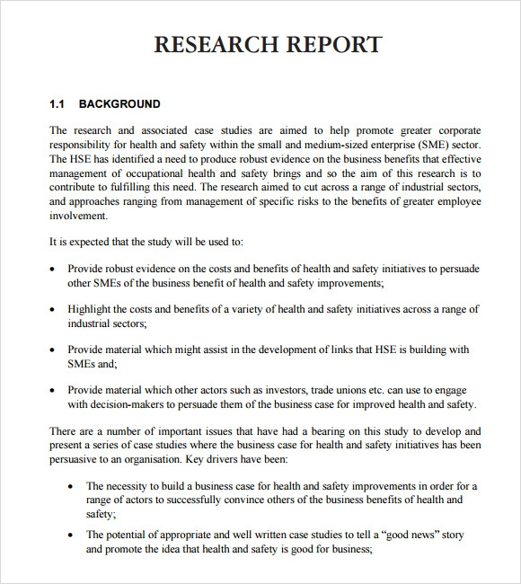 Sample Report Format Example Of A Research Report Details File