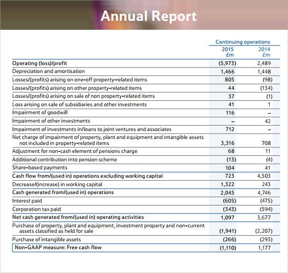 sample finance report