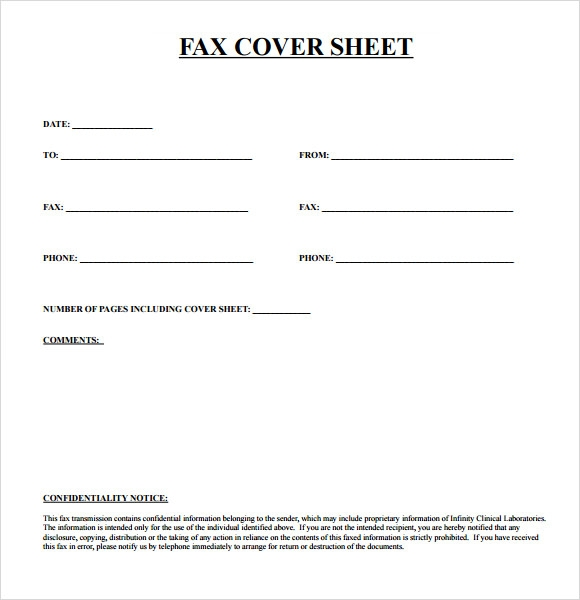 Blank Fax Cover Sheet Template Format wXUUo902