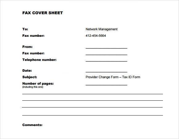 Sample Generic Fax Cover Sheet   Documents In