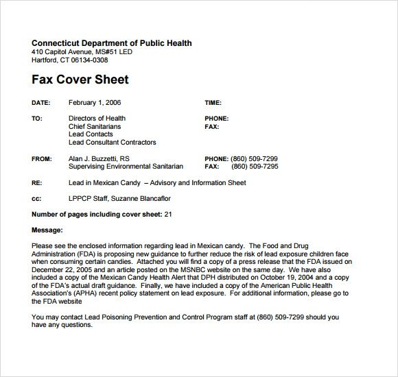 Sample Basic Fax Cover Sheet   Free Documents Download In Pdf
