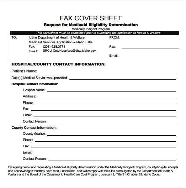 free basic fax cover sheet template