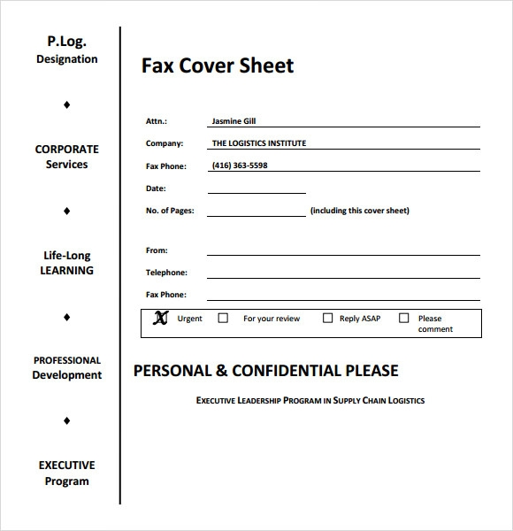 Sample Generic Fax Cover Sheet   Documents In Pdf