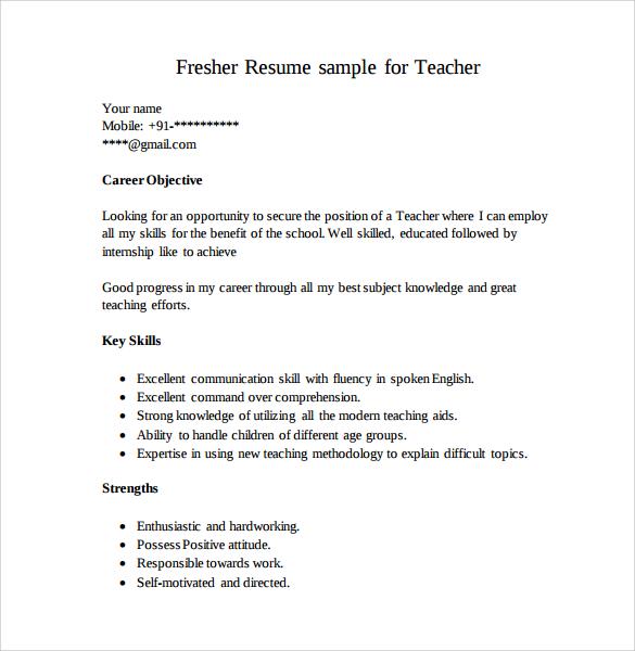 fresher resume sample for teacher