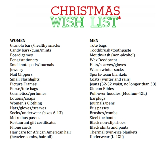 Sample Christmas List 10 Documents in PDF Word – Sample Christmas List