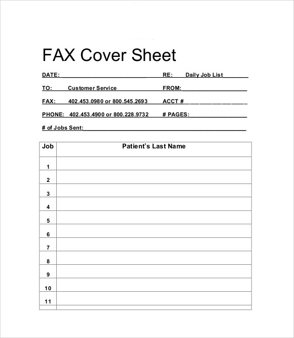 Sample Basic Fax Cover Sheet  Free Documents Download Doc