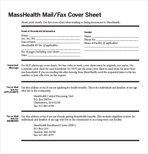 Sample Masshealth Fax Cover Sheet - 5+ Documents in PDF