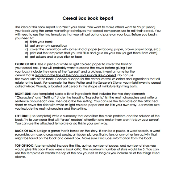 Sample Cereal Box Book Report - 8+ Documents In Pdf, Word