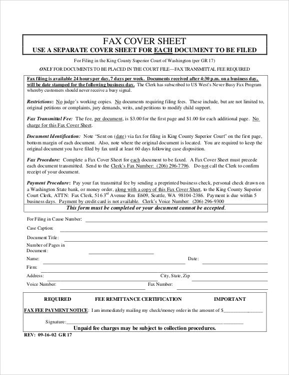 sample personal fax cover sheet