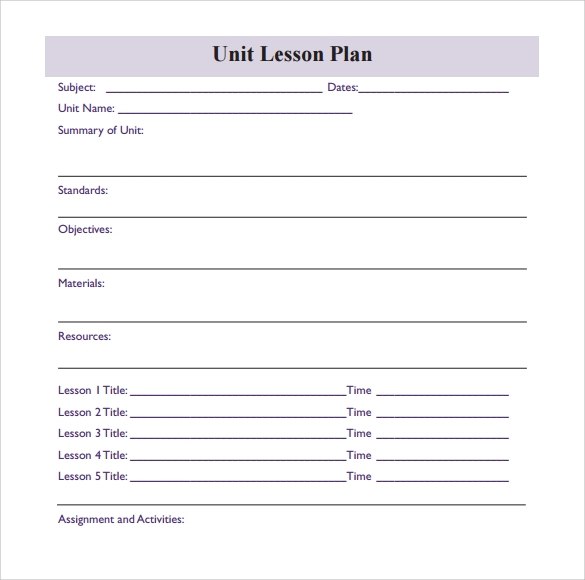 sample blank lesson plan