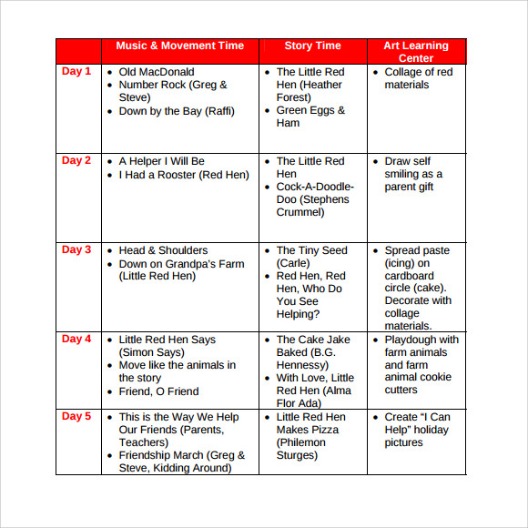 Sample Toddler Lesson Plan   Documents In Pdf Word