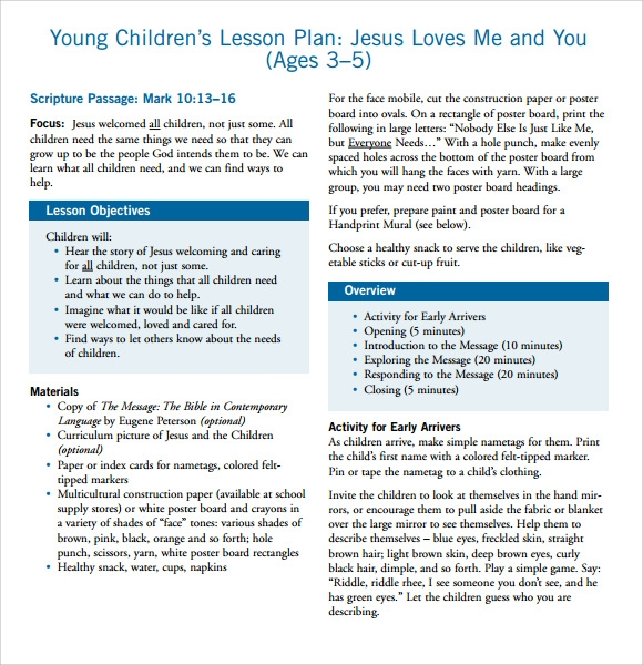 8 sample toddler lesson plans sample templates