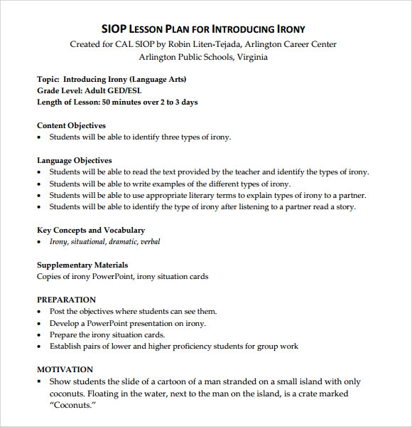 Sample Siop Lesson Plan   Documents In Pdf Word
