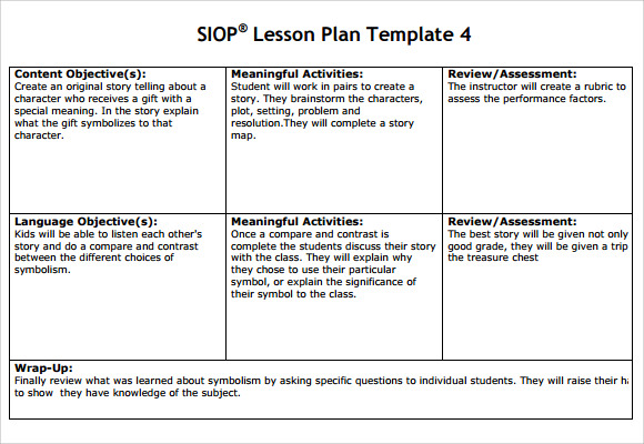 9 Siop Lesson Plan Samples Sample Templates
