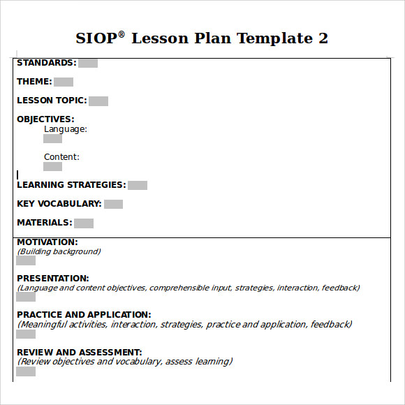 9 siop lesson plan samples sample templates. Black Bedroom Furniture Sets. Home Design Ideas