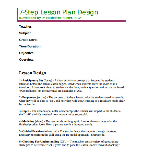Sample Madeline Hunter Lesson Plan Template   Free Documents In