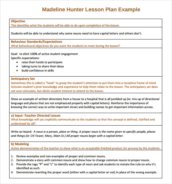 sample madeline hunter lesson plan template