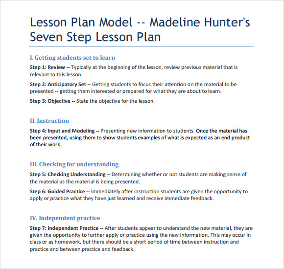 Sample Madeline Hunter Lesson Plan Template - 7+ Free Documents in PDF ...