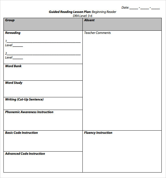 Sample Guided Reading Lesson Plan   Documents In Pdf