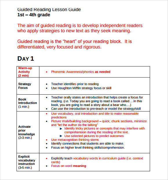 Sample Guided Reading Lesson Plan 8 Documents in PDF – Sample Guided Reading Lesson Plan Template