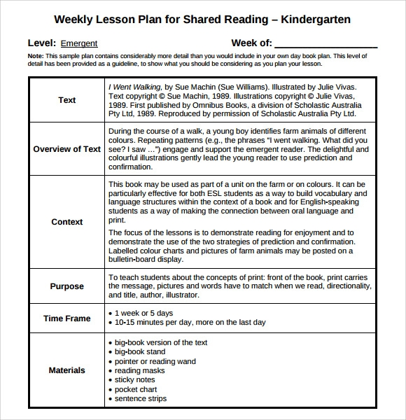 Kindergarten Weekly Lesson Plan Template