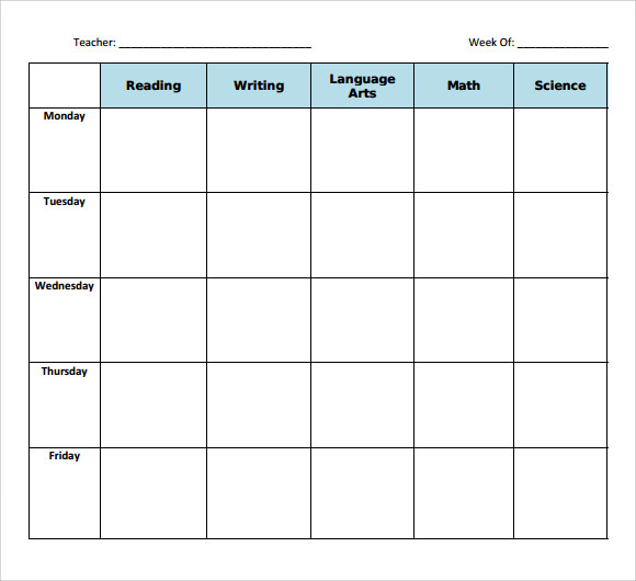 blank weekly lesson plan template