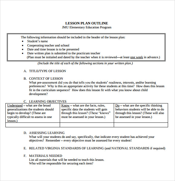 Sample printable lesson plan template 8 free documents for Outline of a lesson plan template