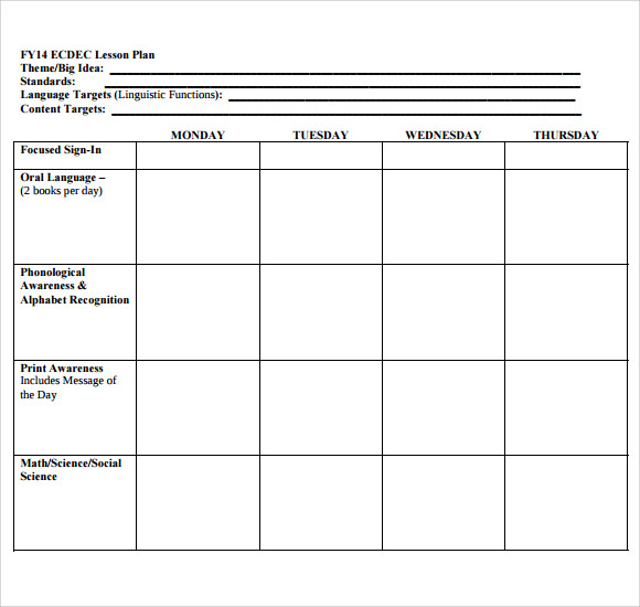Sample Printable Lesson Plan Template   Free Documents In Pdf