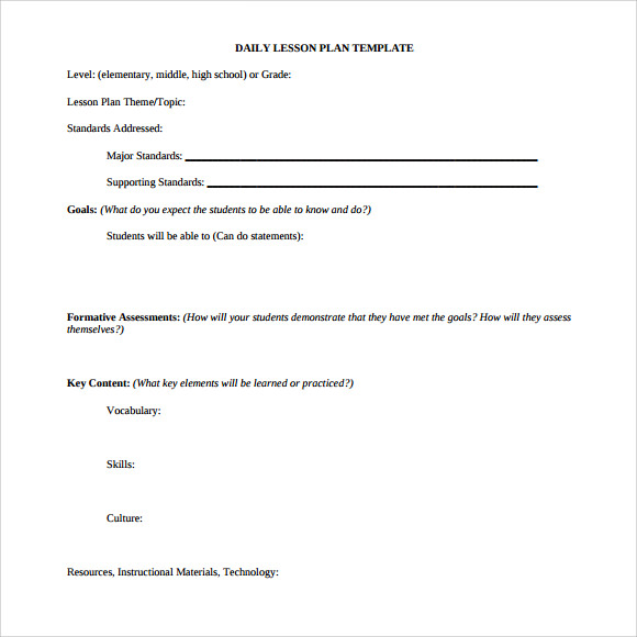 Sample Daily Lesson Plan Documents In PDF - Lesson plan templates for middle school