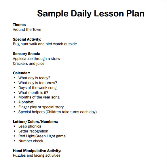 Sample Daily Lesson Plan   Documents In Pdf