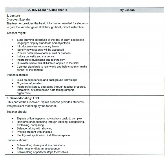 Sample Teacher Lesson Plan Template   Free Documents In Pdf