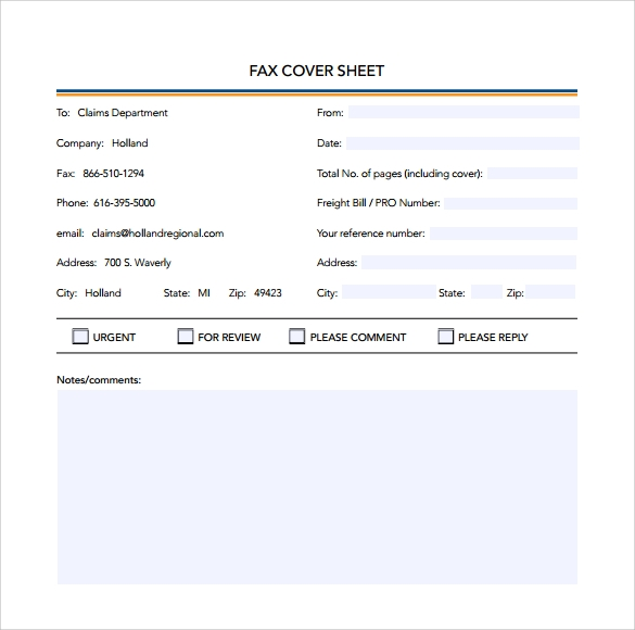 sample basic fax cover sheet