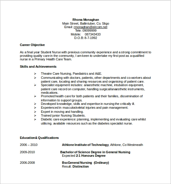 Docs nursing resume
