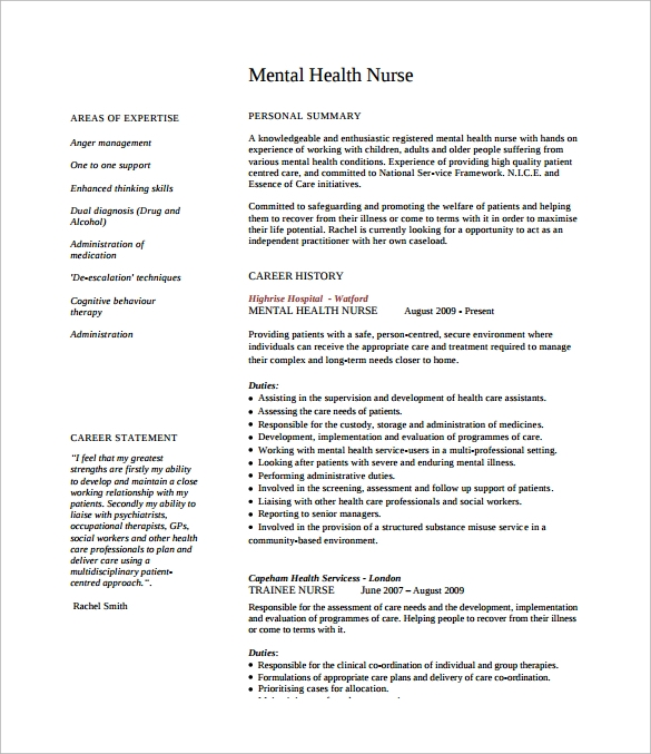 8 Nursing CV Samples   Sample