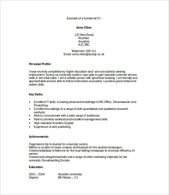 Sample Functional Cv   Documents In Pdf Word