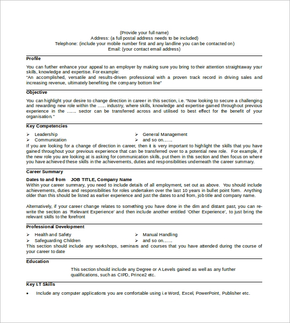 Sample Professional Cv   Download Free Documents In Pdf Word