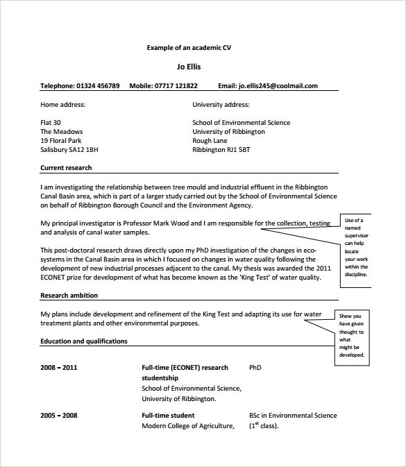 simple academic cv free pdf