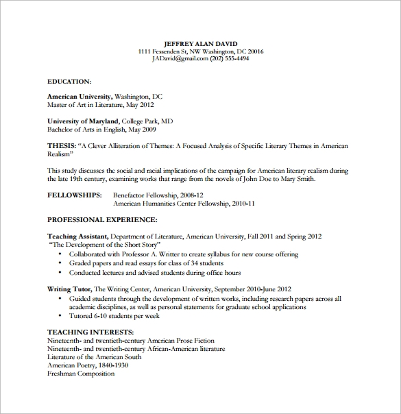 simple undergraduate curriculum vitae free template