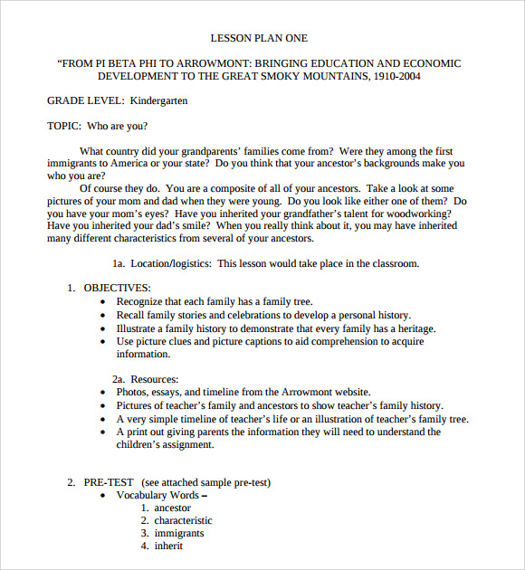 Sample Kindergarten Lesson Plan Template Free Documents In - History lesson plan template